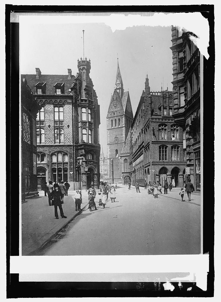16 x 20 Reprinted Old Photo ofGermany, Hanover. Market, church [... 1914 National Photo Co  49a