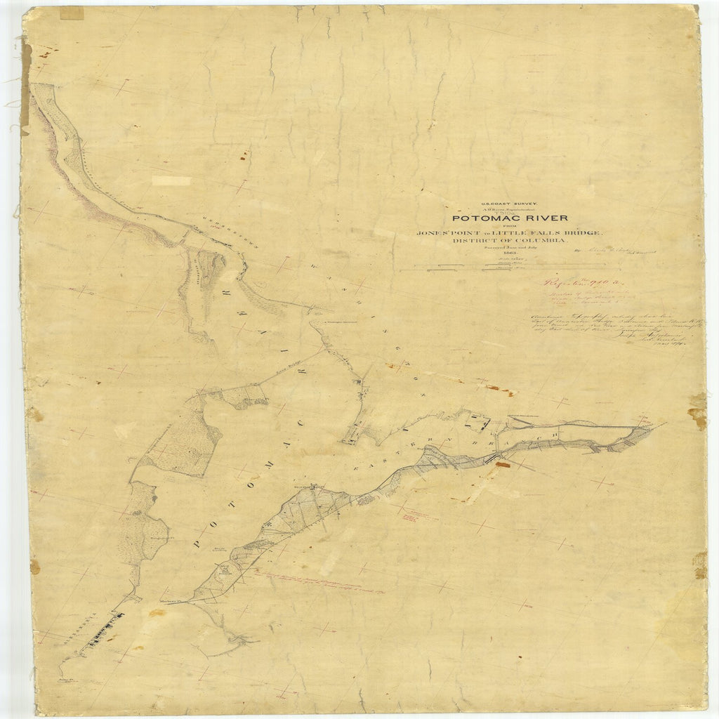 18 x 24 inch 1863 US old nautical map drawing chart of Potomac River From Jones Point to Little Falls Bridge From  U.S. Coast Survey x2880
