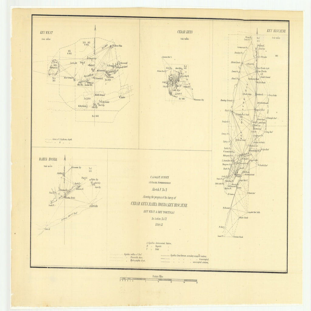 18 x 24 inch 1852 US old nautical map drawing chart of Sketch F Number 2 Showing the Progress of the Survey of Cedar Keys, Bahia Honda, Key Biscayne, Key West and Dry Tortugas in Section Number 6 From  U.S. Coast Survey x2584