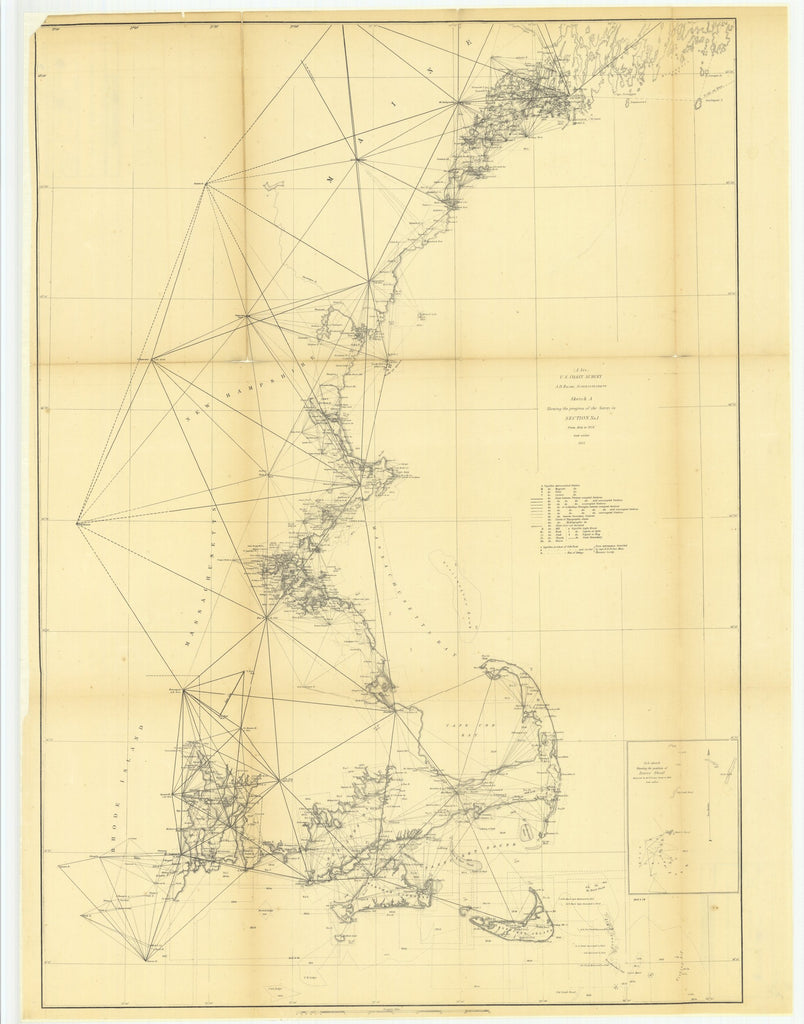 18 x 24 inch 1855 US old nautical map drawing chart of Sketch A Showing the Progress of the Survey in Section Number 1 from 1844 to 1855 with Sub Sketch Showing the Position of Davis' Shoal From  U.S. Coast Survey x5324