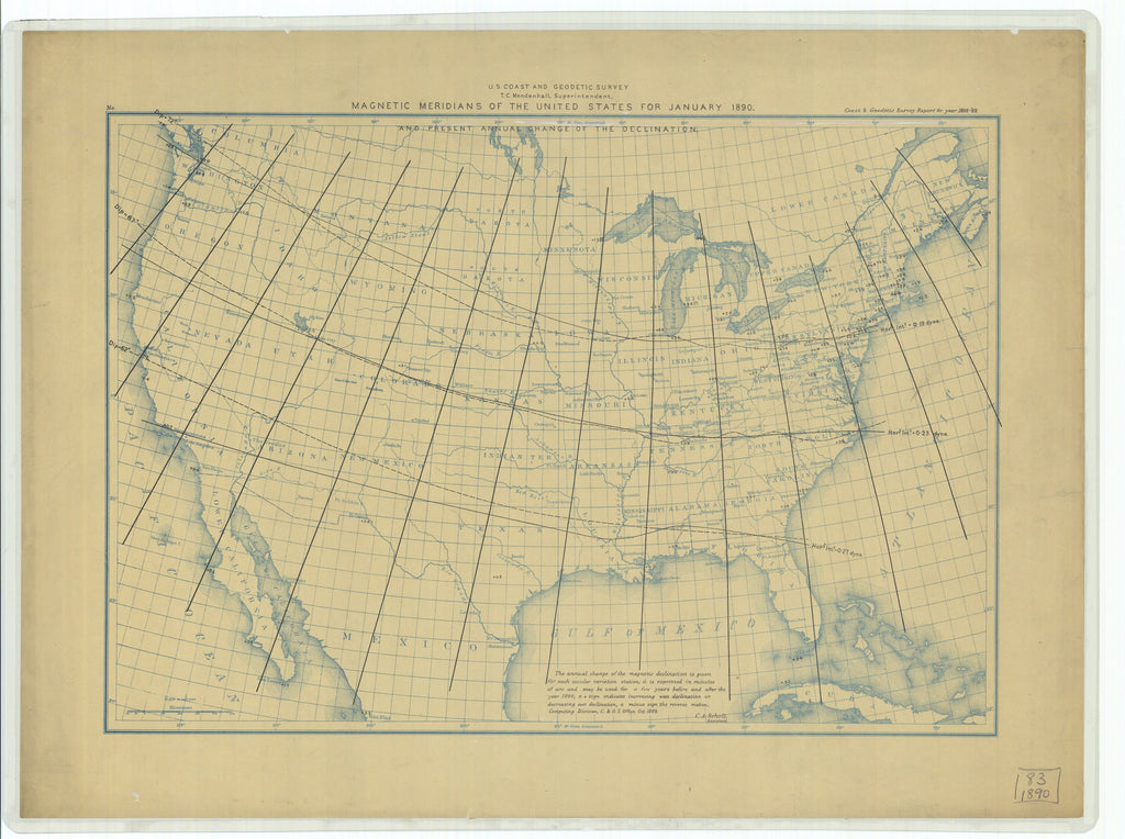 18 x 24 inch 1889 USA old nautical map drawing chart of Magnetic Meridians and Present Annual Change of the Declination of the United States for January 1890 From  US Coast & Geodetic Survey x12125