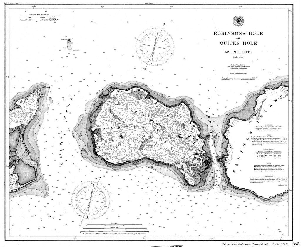 18 x 24 inch 1892 US old nautical map drawing chart of Nautical Chart of Robinsons Hole and Quicks Hole From  C&GS x2241