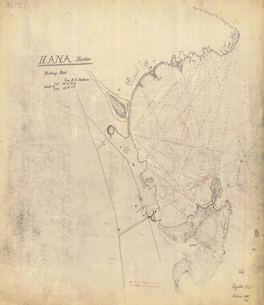 18 x 24 inch 1882 US old nautical map drawing chart of HANA HARBOR From  NOAA x1187
