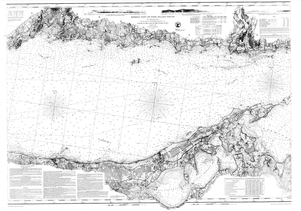 18 x 24 inch 1855 New York old nautical map drawing chart of Navigation Chart for the Middle Part of Long Island Sound From  U.S. Coast Survey x7030