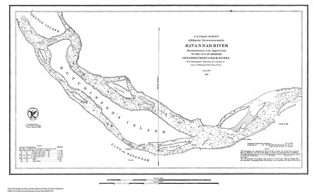 18 x 24 inch 1851 US old nautical map drawing chart of Navigation Chart of Savannah River, Approaches to the City of Savannah including Front and Back Rivers From  U.S. Coast Survey x296
