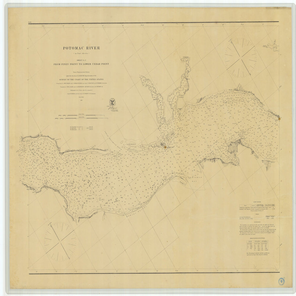 18 x 24 inch 1862 Virginia old nautical map drawing chart of Potomac River From Piney Point to Lower Cedar Point Sheet No 2 From  U.S. Coast Survey x8694