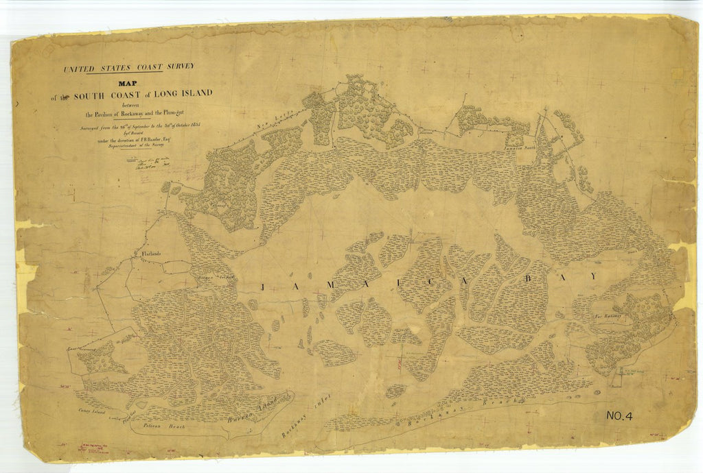 18 x 24 inch 1835 New York old nautical map drawing chart of Map of the South Coast of Long Island between the Pavilion of Rockaway and the Plum-gut From  U.S. Coast Survey x6897