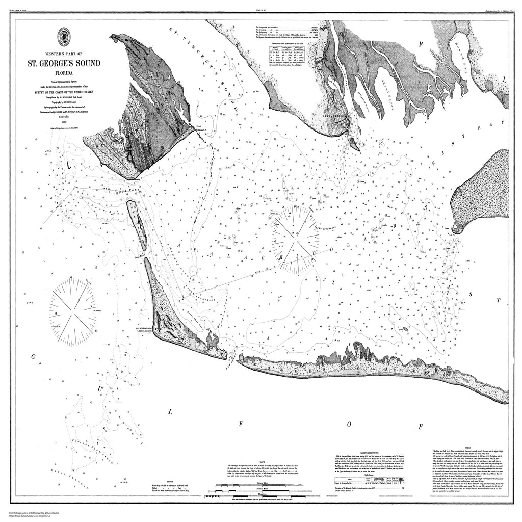 18 x 24 inch 1860 US old nautical map drawing chart of Nautical Chart of St. George Sound From  C&GS x1384