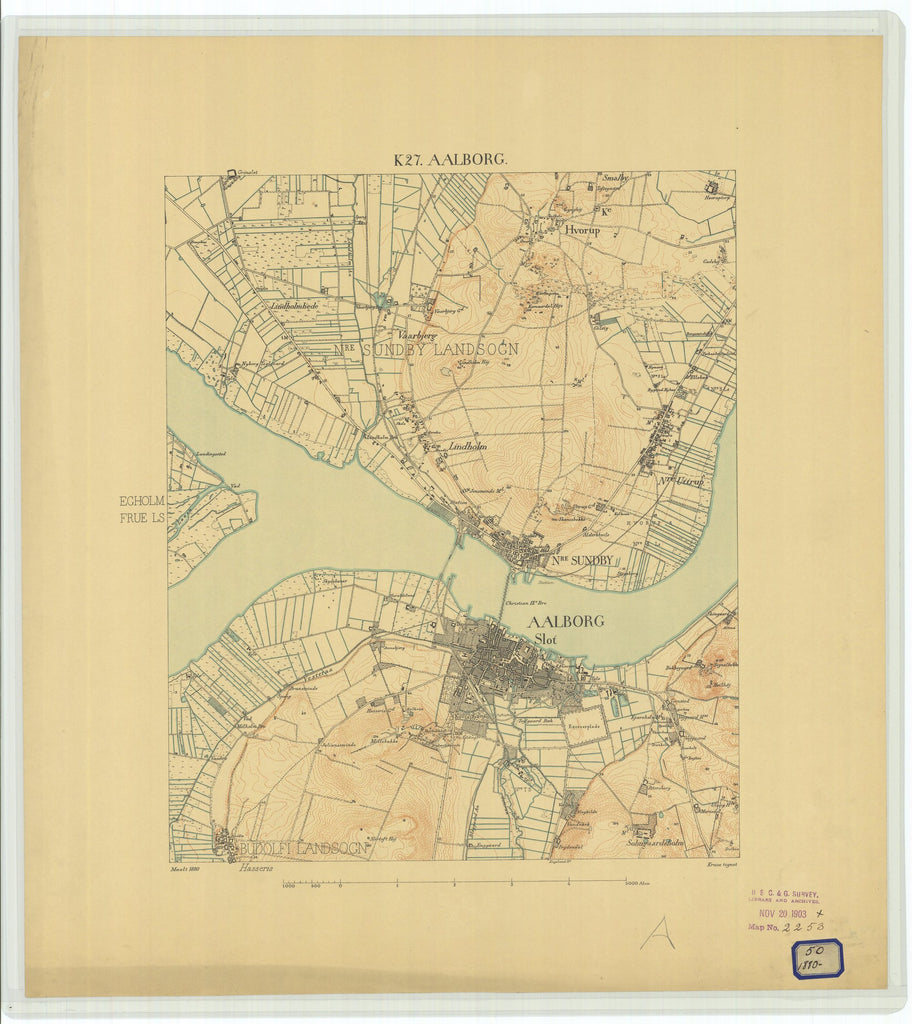 18 x 24 inch 1880 OTHER old nautical map drawing chart of Aalborg From  NOAA x7290