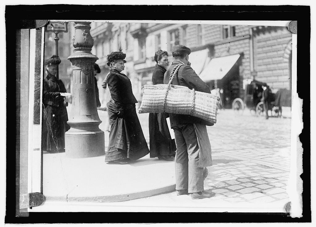 16 x 20 Reprinted Old Photo ofAustria. Baskets used to deliver meats and groceries 1915 National Photo Co  23a