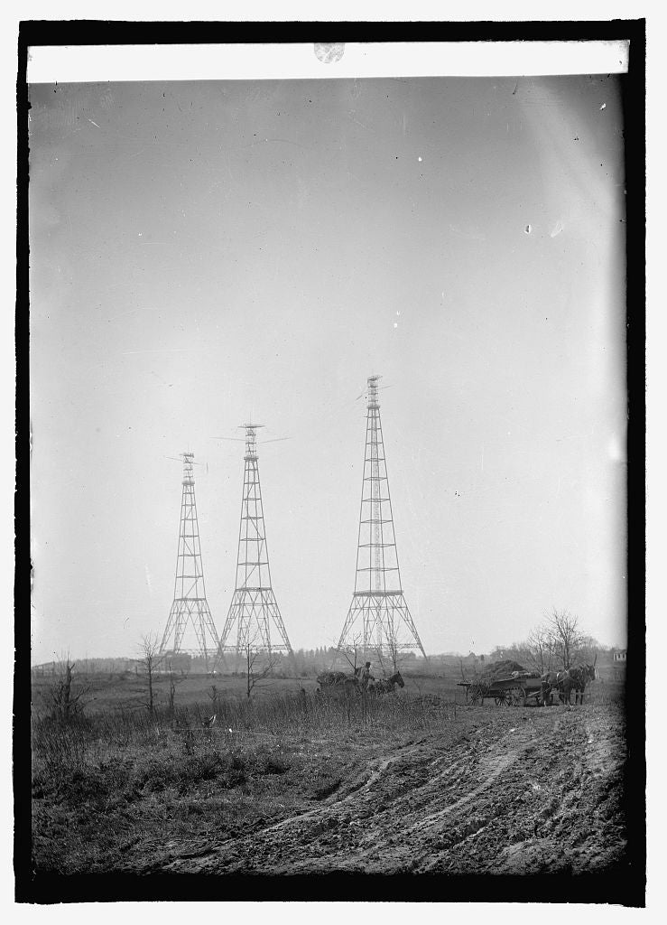 16 x 20 Reprinted Old Photo ofWireless towers, Arlington 1915 National Photo Co  68a