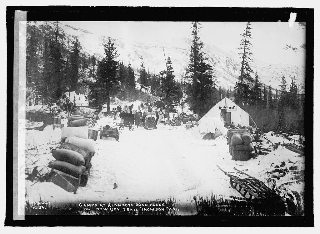 16 x 20 Reprinted Old Photo ofAlaska [Camps at Kennedys Road House on New Gov. Trail, Thomson Pass 1915 National Photo Co  95a