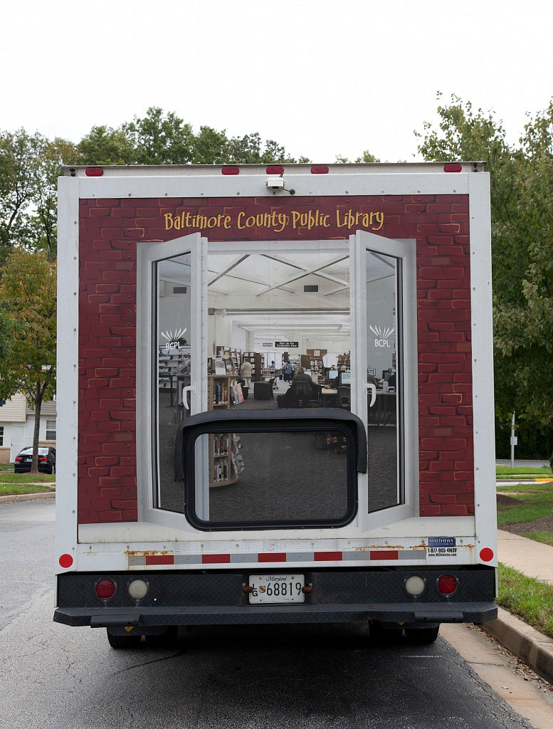 18 x 24 Photograph reprinted on fine art canvas  of Library on the Go and Read Rover part of the mobile library serivice for the Public Library System in Baltimore County Maryland r94 2011 September by Highsmith, Carol M.,