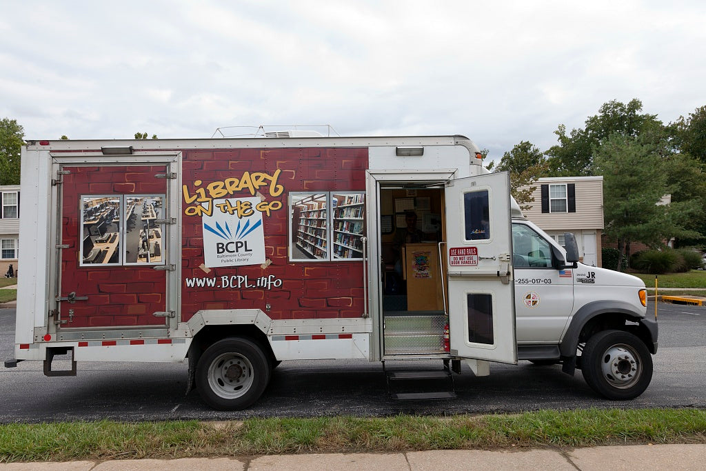 18 x 24 Photograph reprinted on fine art canvas  of Library on the Go and Read Rover part of the mobile library serivice for the Public Library System in Baltimore County Maryland r96 2011 September by Highsmith, Carol M.,