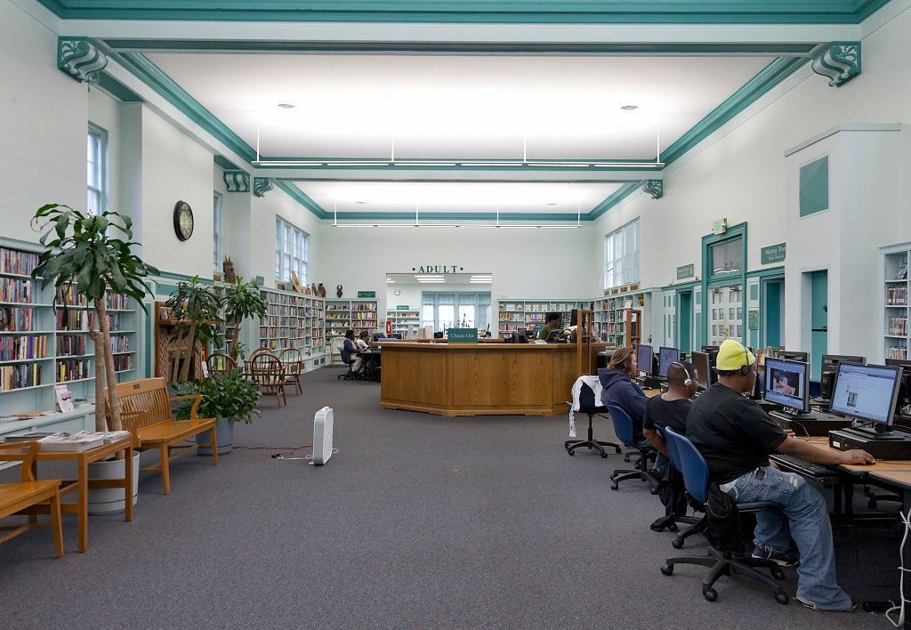 18 x 24 Photograph reprinted on fine art canvas  of Forest Park Branch of the Enoch Pratt Free Library Baltimore Maryland r15 2011 September by Highsmith, Carol M.,