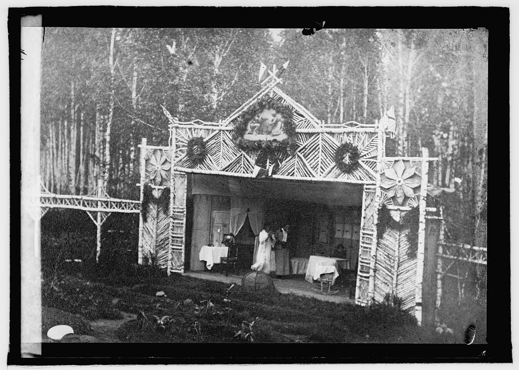 16 x 20 Reprinted Old Photo ofA stage built on the edge of the forest by Czecho-Slovak soldiers in Siberia 1920 National Photo Co  51a