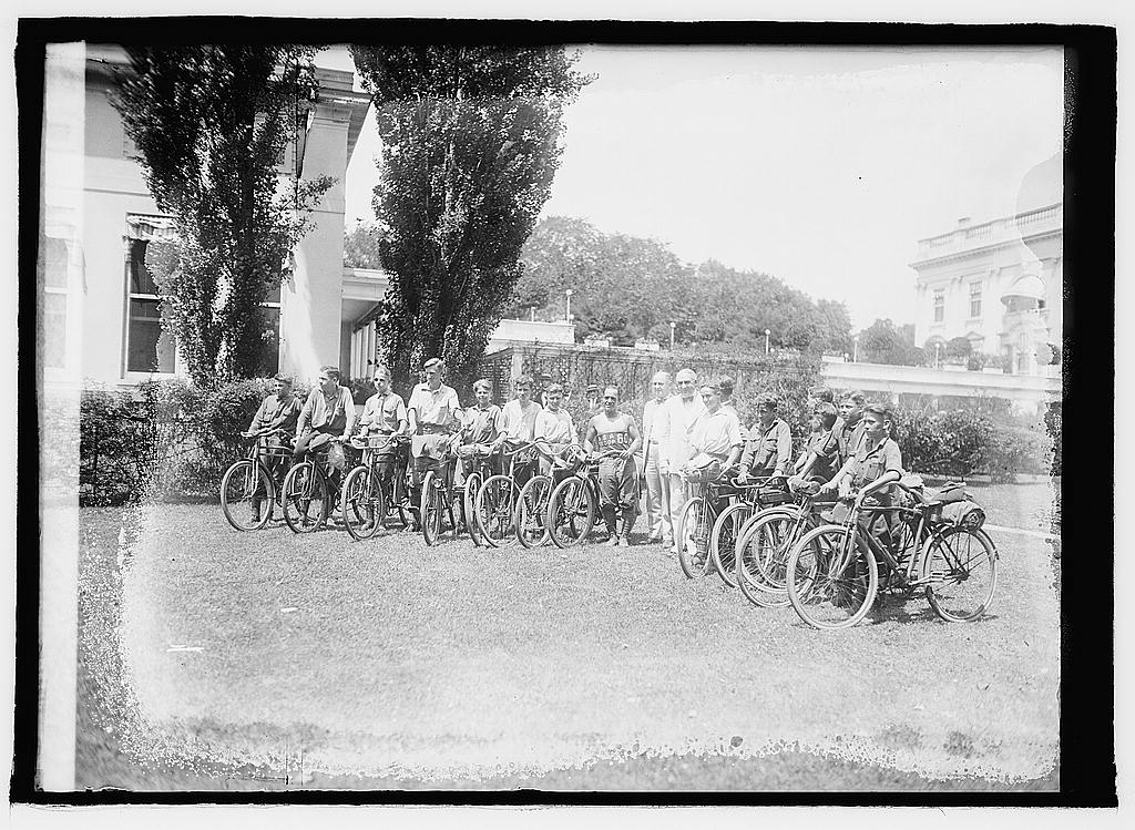 16 x 20 Reprinted Old Photo of Harding & bicycle boys 1921 National Photo Co  50a