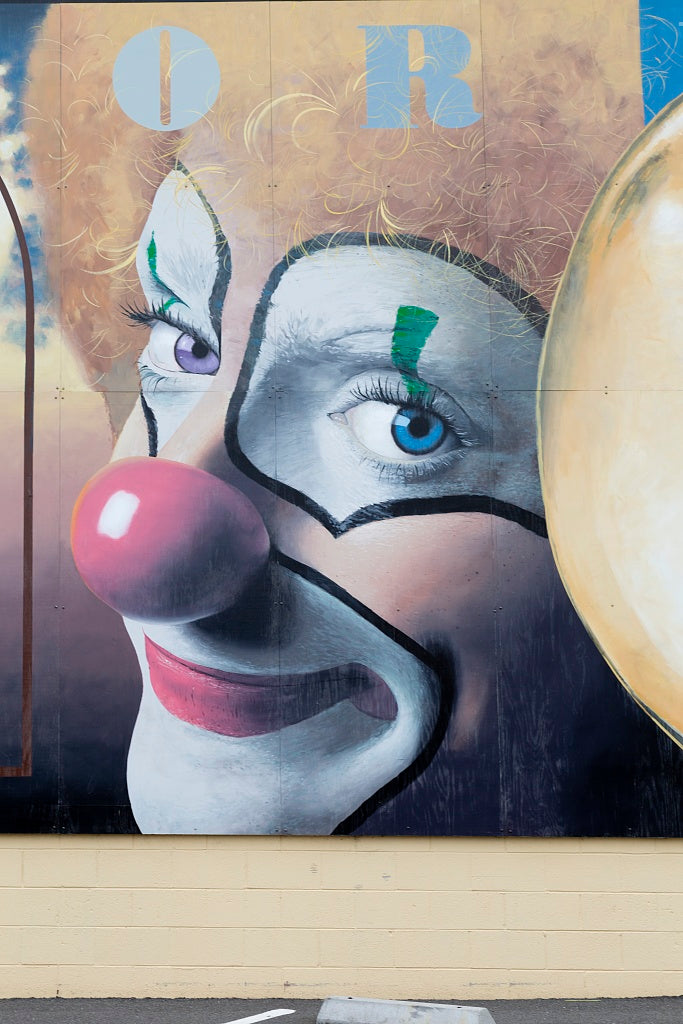 18 x 24 Photograph reprinted on fine art canvas  of Detail of clown face on Performing Arts mural by Randy Spicer Eureka California r97 2012 by Highsmith, Carol M.