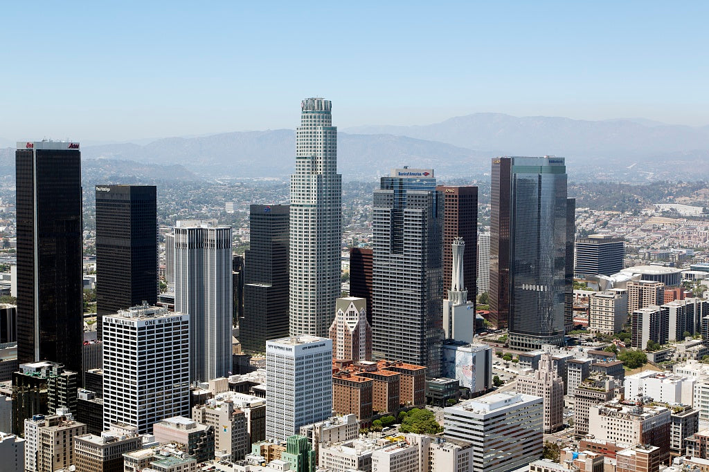 18 x 24 Photograph reprinted on fine art canvas  of Aerial view of downtown Los Angeles California r02 2012 by Highsmith, Carol M.