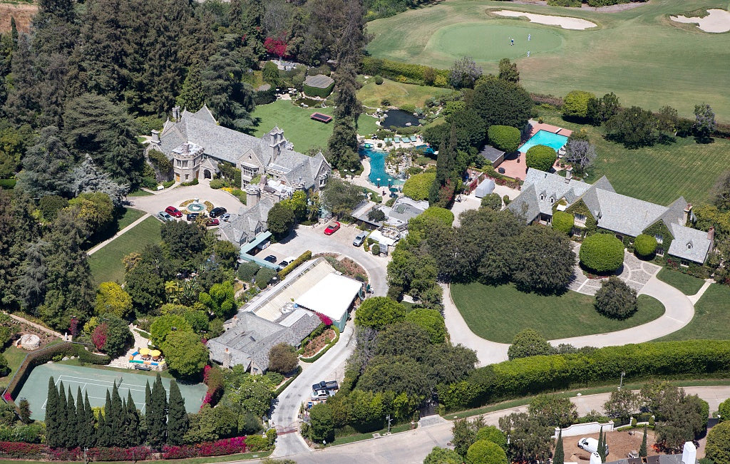 18 x 24 Photograph reprinted on fine art canvas  of Aerial view of Hugh Hefner's Mansion located in Los Angeles California r35 2012 by Highsmith, Carol M.