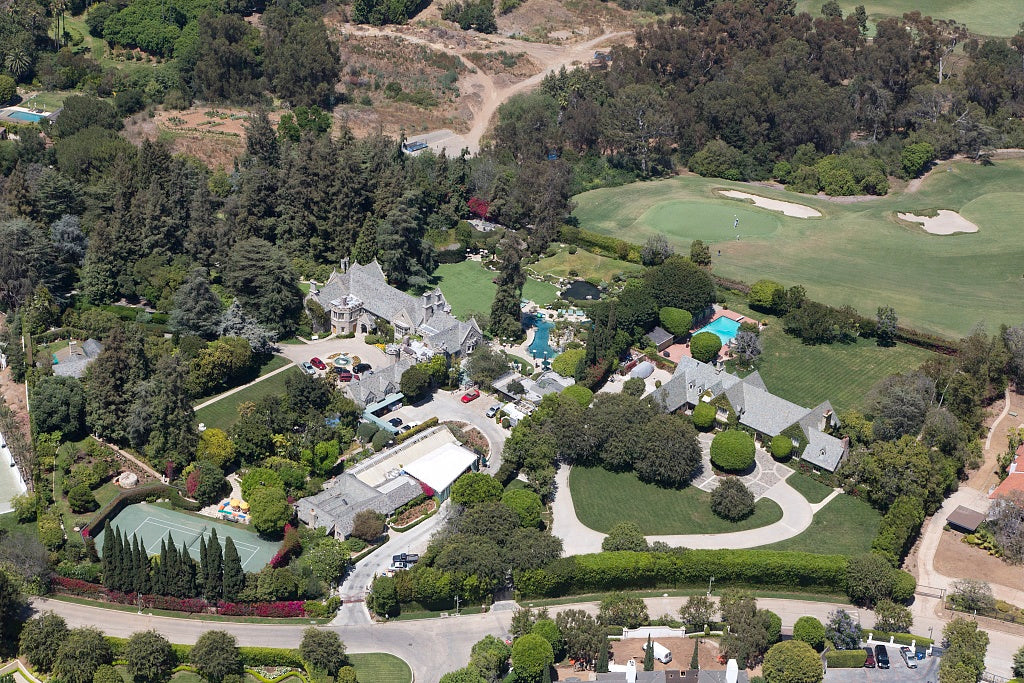 18 x 24 Photograph reprinted on fine art canvas  of Aerial view of Hugh Hefner's Mansion located in Los Angeles California r36 2012 by Highsmith, Carol M.