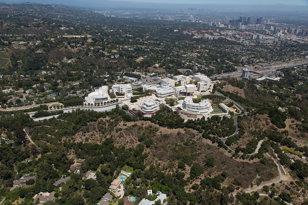 18 x 24 Photograph reprinted on fine art canvas  of Aerial view of the J. Paul Getty Museum of Art in Los Angeles California r39 2012 by Highsmith, Carol M.