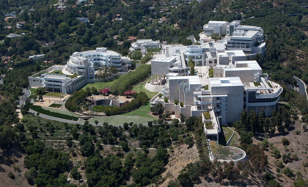 18 x 24 Photograph reprinted on fine art canvas  of Aerial view of the J. Paul Getty Museum of Art in Los Angeles California r45 2012 by Highsmith, Carol M.