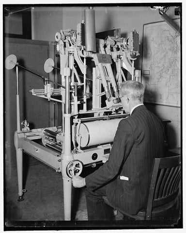 8 x 10 Reprinted Old Photo of Geological Survey, Dept. Interior. Washington, D.C., Mar. 13. E.A. Shuster Working With The Erocartograph Constructing Topographies From Airplane  1939 Harris & Ewing 96a