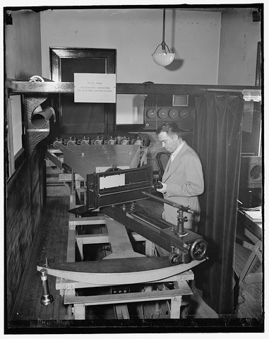 8 x 10 Reprinted Old Photo of Testing Airplanes Lenses Used In Map Making. Washington, D.C., May 6. Dr. F.E. Washer Of The U.S. Bureau Of Standards Testing The Lens For The Air 1938 Harris & Ewing 75a