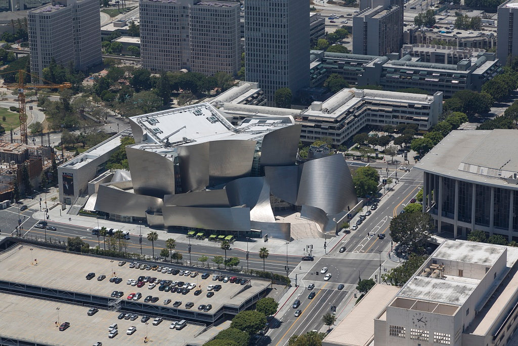18 x 24 Photograph reprinted on fine art canvas  of Aerial view of Walt Disney Concert Hall in Los Angeles California r47 2012 by Highsmith, Carol M.