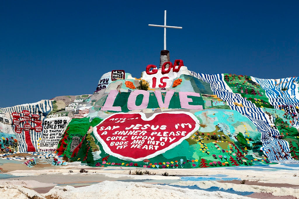 18 x 24 Photograph reprinted on fine art canvas  of Salvation Mountain is an art installation covering a hill north of Calipatria California near Slab City and just several miles from the Salton Sea r38 2012 by Highsmith, Ca