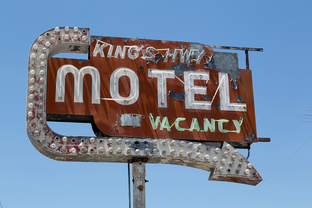 18 x 24 Photograph reprinted on fine art canvas  of Old neon motel sign on King's Highway in California r44 2012 by Highsmith, Carol M.