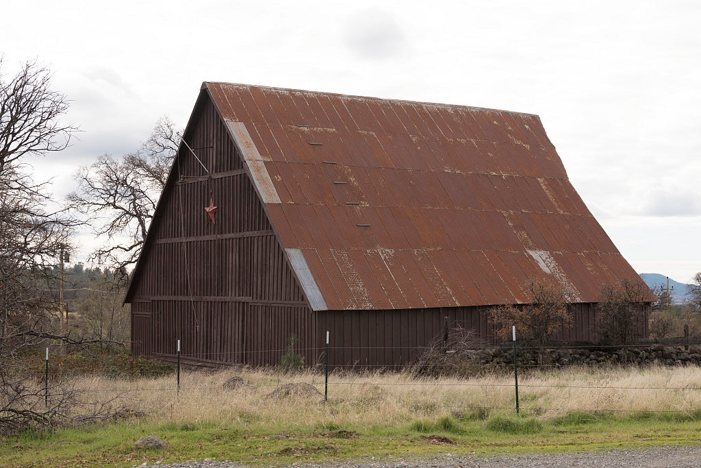 18 x 24 Photograph reprinted on fine art canvas  of An innovatively repaired old barn near the settlement of Manton near Shingletown in Shasta County California r71 2012 by Highsmith, Carol M.