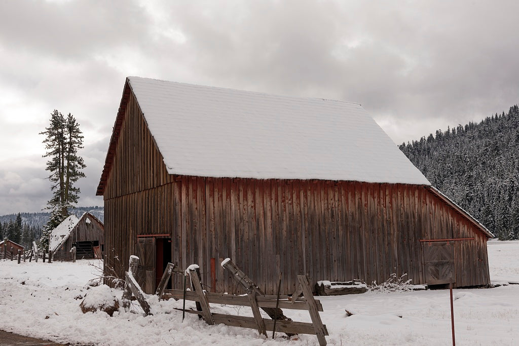 18 x 24 Photograph reprinted on fine art canvas  of A rural barn following sudden mountain blizzard along California Highway 36 south of Lassen Volcanic National Park r96 2012 by Highsmith, Carol M.