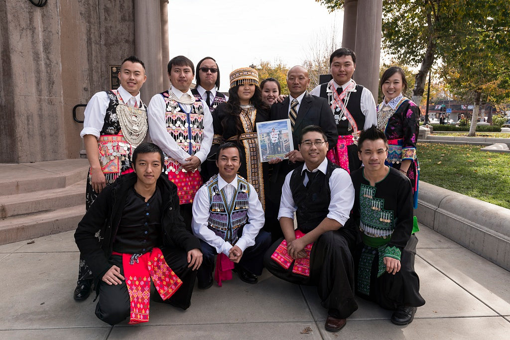 18 x 24 Photograph reprinted on fine art canvas  of Some of the hundreds of participants at the 10th-annual Hmong New Year Celebration in downtown Chico California pose r01 2012 by Highsmith, Carol M.