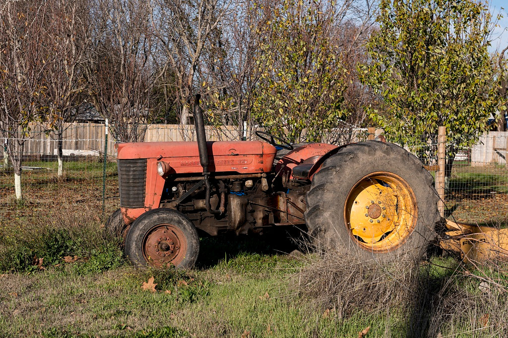 18 x 24 Photograph reprinted on fine art canvas  of A tractor observed in a yard in Los Molinos a small town in Tehama County California r18 2012 by Highsmith, Carol M.