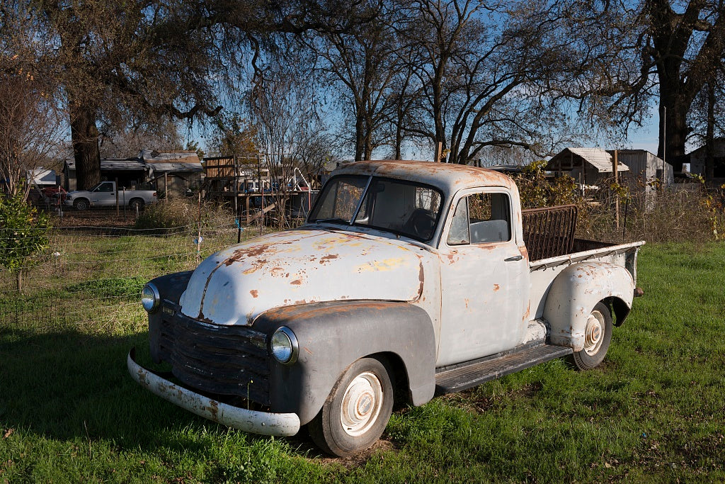 18 x 24 Photograph reprinted on fine art canvas  of A vintage pickup truck observed in a yard in Los Molinos a small town in Tehama County California r19 2012 by Highsmith, Carol M.