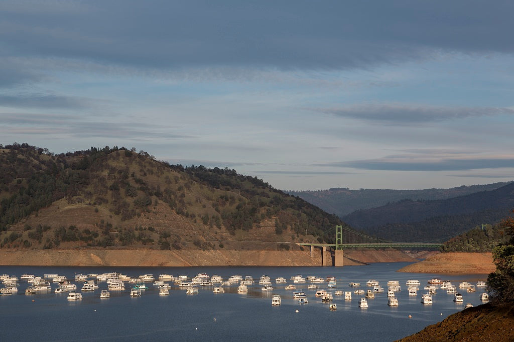 18 x 24 Photograph reprinted on fine art canvas  of The yacht basin on Lake Oroville above the city of the same name. The reservoir was created by damming the Feather River r48 2012 by Highsmith, Carol M.