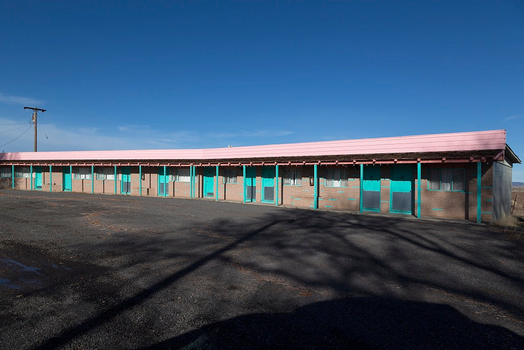 18 x 24 Photograph reprinted on fine art canvas  of Motel with drive-up units along U.S. 395 in the little settlement of Ravendale north of Susanville in Lassen County California r84 2012 by Highsmith, Carol M.