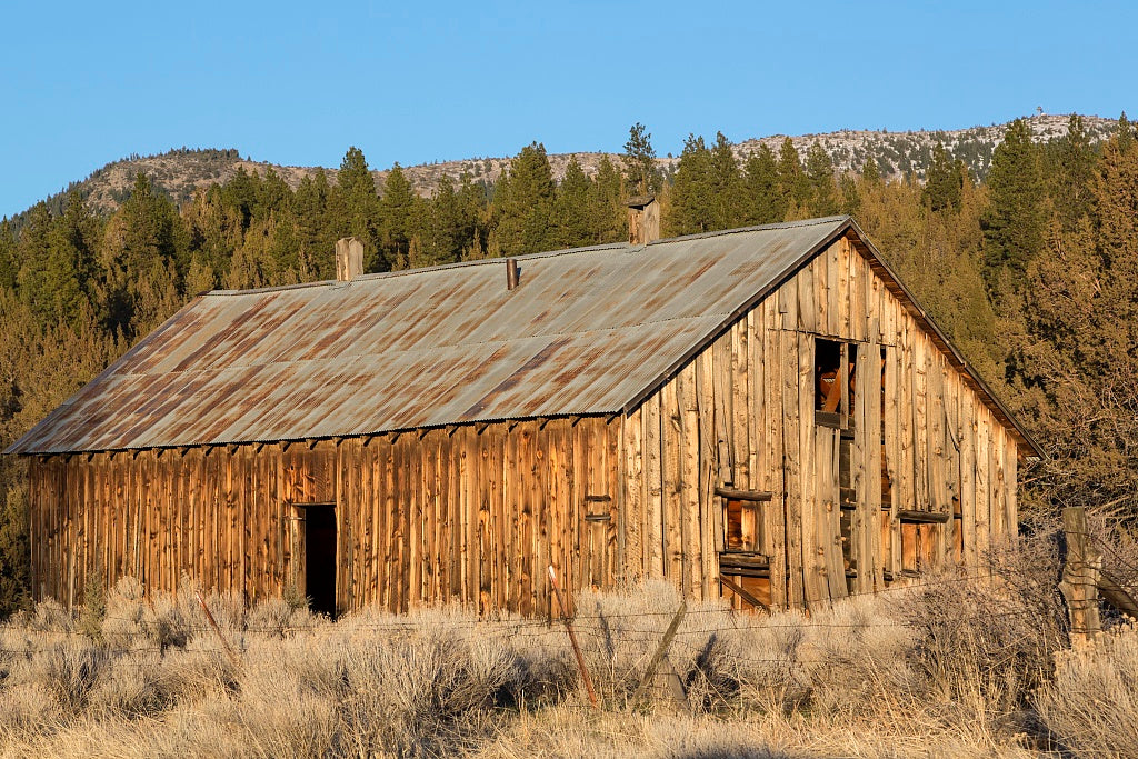 18 x 24 Photograph reprinted on fine art canvas  of A barn along U.S. 395 in the extreme northeastern corner of California in Modoc County r95 2012 by Highsmith, Carol M.