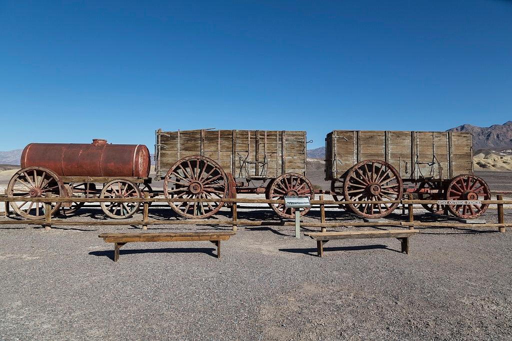 "18 x 24 Photograph reprinted on fine art canvas  of ""Twenty mule team"" borax wagons at the Harmony Borax Works in California's Death Valley r01 2012 by Highsmith, Carol M."