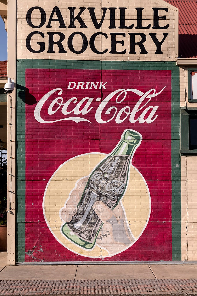 18 x 24 Photograph reprinted on fine art canvas  of Vintage Coca-Cola sign on an outside wall of a grocery store in Oakville north of Napa in California's Napa Valley r20 2012 by Highsmith, Carol M.
