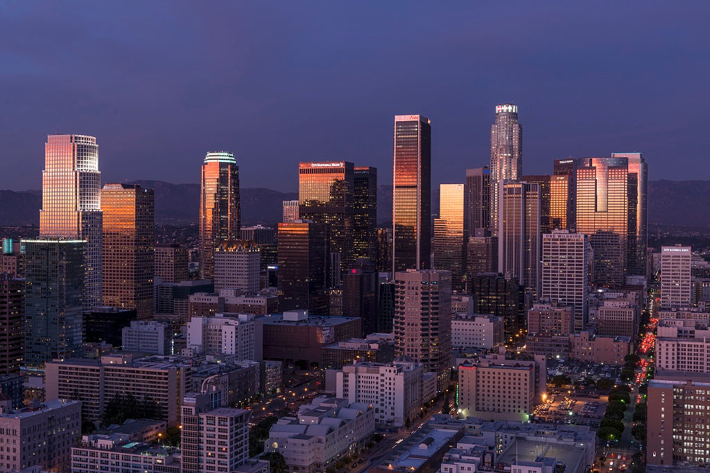 18 x 24 Photograph reprinted on fine art canvas  of Skyline view of Los Angeles California r29 2013 by Highsmith, Carol M.