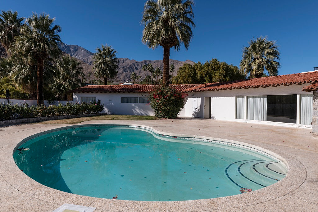 18 x 24 Photograph reprinted on fine art canvas  of Pool view of a house in Palm Springs California one of only two homes to be owned by singer Elvis Presley r32 2013 by Highsmith, Carol M.