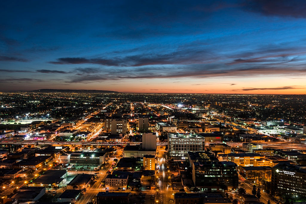 18 x 24 Photograph reprinted on fine art canvas  of Nighttime skyline view of Los Angeles California looking west toward the setting sun r33 2013 by Highsmith, Carol M.
