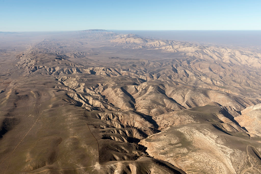 18 x 24 Photograph reprinted on fine art canvas  of Aerial view of a portion of the San Andreas fault in California's Sierra Madre Mountains midway between Bakersfield and Santa Barbara r37 2013 by Highsmith, Carol M.