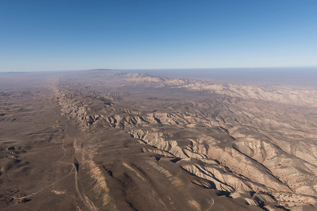 18 x 24 Photograph reprinted on fine art canvas  of Aerial view of a portion of the San Andreas fault in California's Sierra Madre Mountains midway between Bakersfield and Santa Barbara r39 2013 by Highsmith, Carol M.