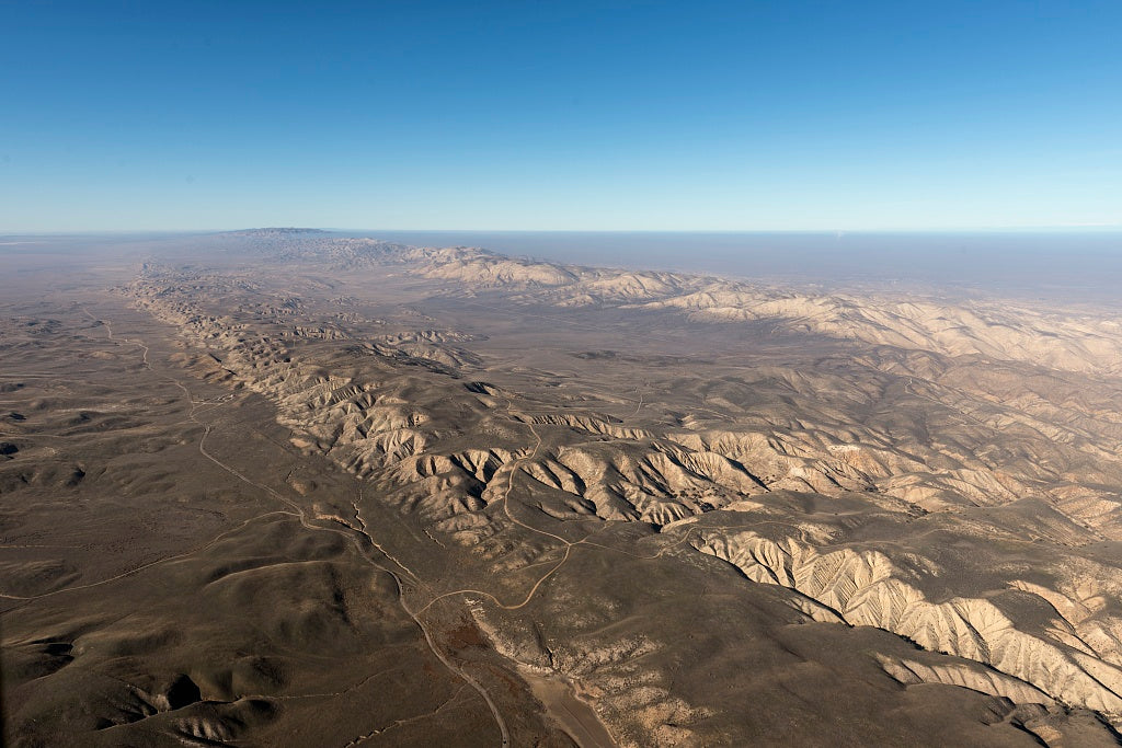 18 x 24 Photograph reprinted on fine art canvas  of Aerial view of a portion of the San Andreas fault in California's Sierra Madre Mountains midway between Bakersfield and Santa Barbara r40 2013 by Highsmith, Carol M.