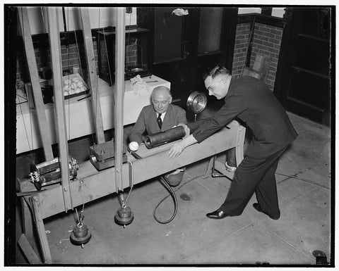 8 x 10 Reprinted Old Photo of Bureau Of Standards Designs Mechanical Batter To Determine Liveliness Of Baseballs. Washington, D.C., Feb. 21. Using A Newly Designed Apparatus, T 1938 Harris & Ewing 01a