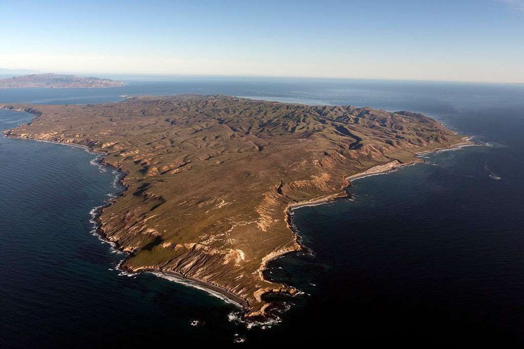 18 x 24 Photograph reprinted on fine art canvas  of Aerial view of Santa Cruz Island one of eight islands in the Channel Islands archipelago located in Santa Barbara Channel of the Pacific Ocean off the coast of Southern Cal